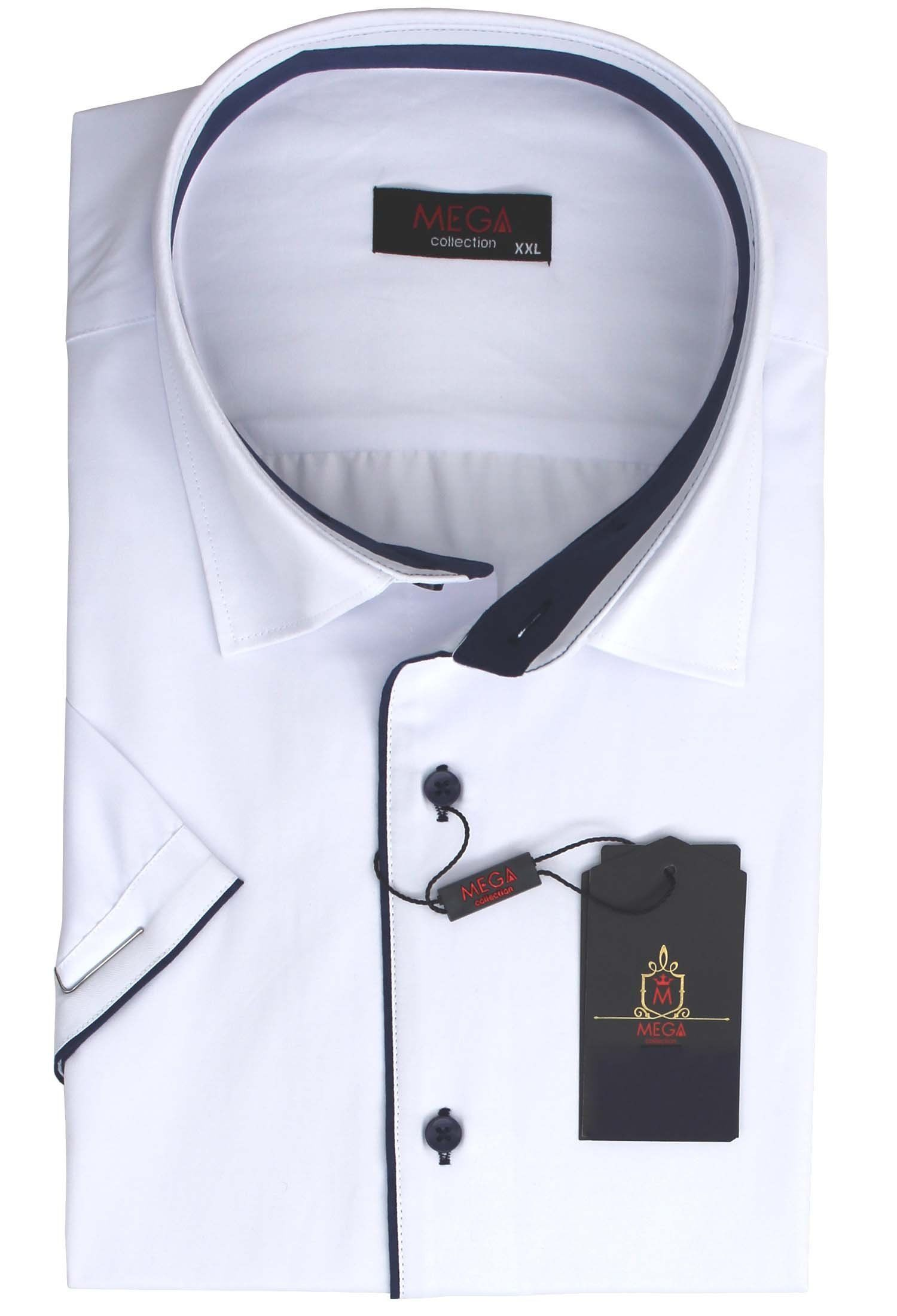 Biała Koszula Na Krótki Rękaw do Krawatu megakoszule.pl  e1LEk