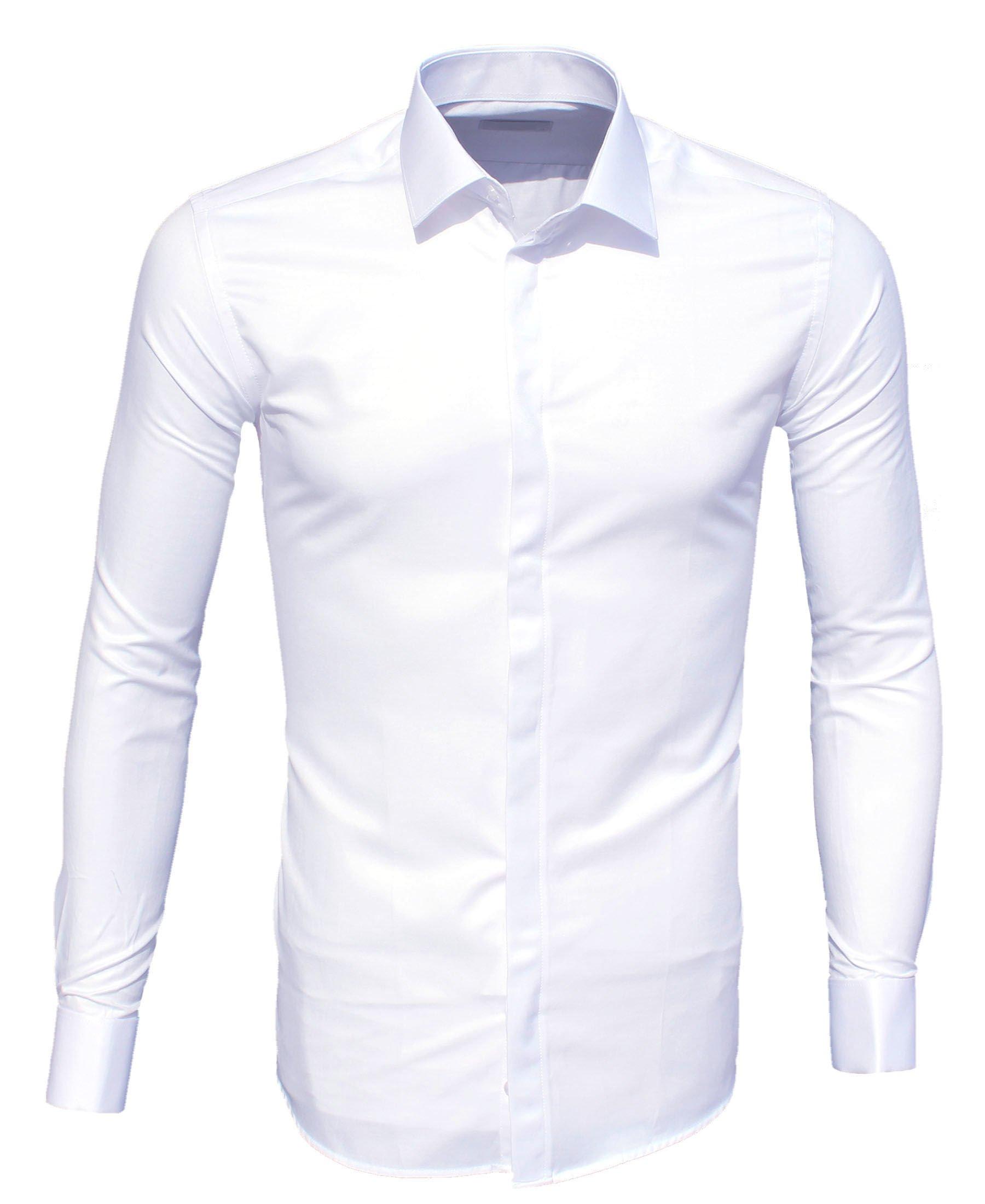 6a4855e8 Biała Koszula na Spinki Plisa SLIM