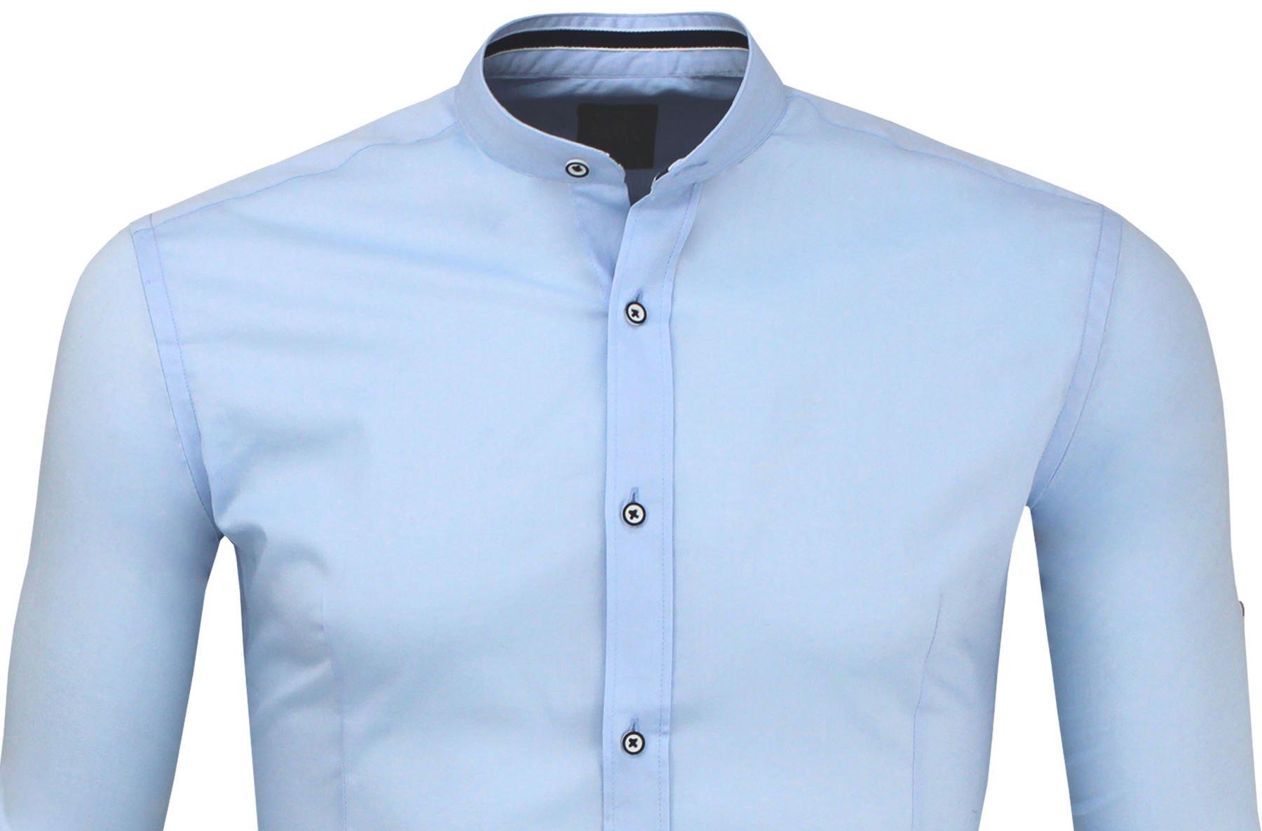 df84d1db9 Niebieska Koszula Męska ze Stójką SLIM FIT Kliknij, aby powiększyć ...